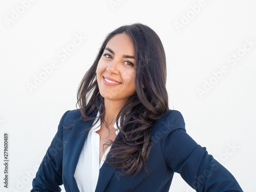 Happy business professional posing over white background Fototapeta