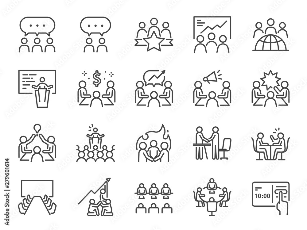 Fototapeta Meeting line icon set. Included icons as meeting room, team, teamwork, presentation, idea, brainstorm and more.