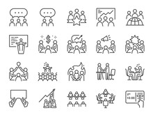 Meeting Line Icon Set. Include...