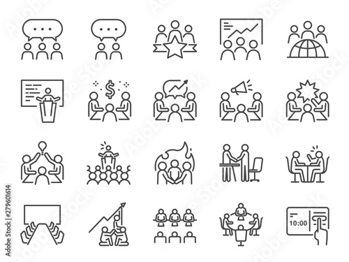 Obraz Meeting line icon set. Included icons as meeting room, team, teamwork, presentation, idea, brainstorm and more. - fototapety do salonu