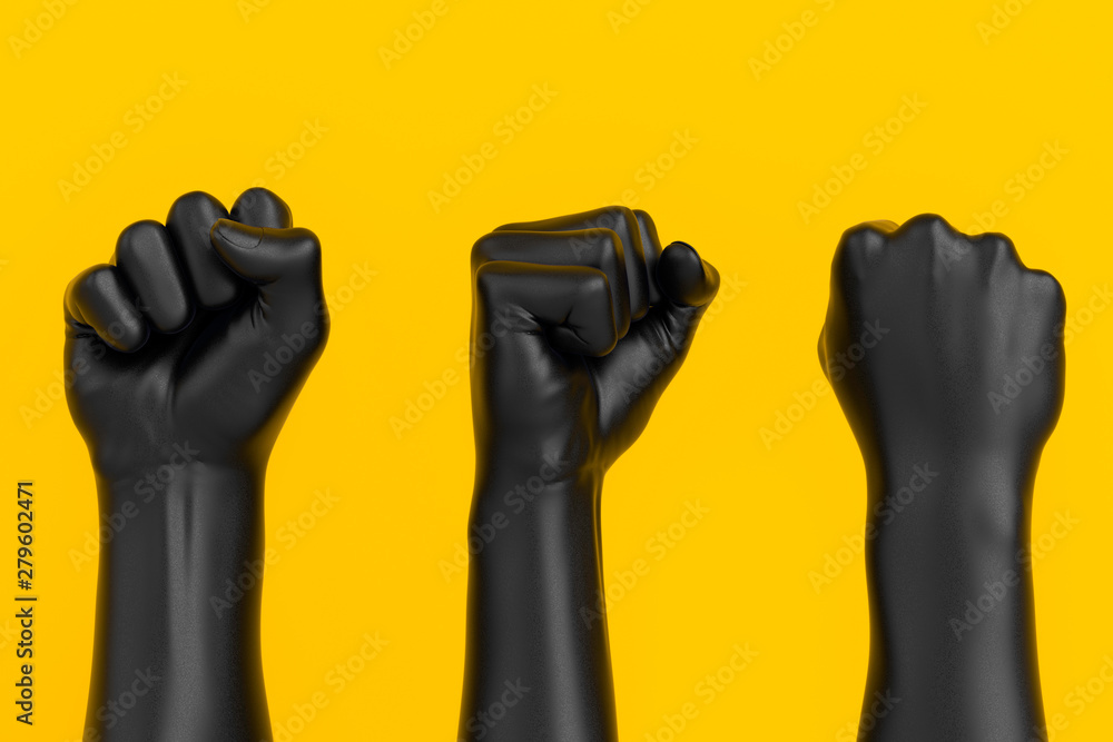 Fototapeta Black Hand Fist set isolated, human rights, protest, conflict or winner concept, 3d illustration