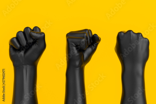 Cuadros en Lienzo Black Hand Fist set isolated, human rights, protest, conflict or winner concept,