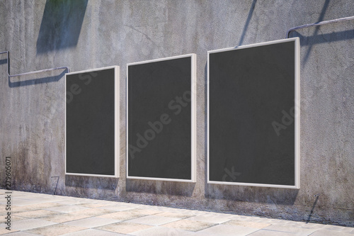Canvas Prints Countryside Sideview of empty black banners