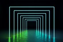 Abstract Green Neon Hall