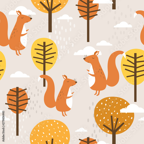 Seamless pattern, squirrels and trees, hand drawn overlapping backdrop. Colorful background vector. Illustration with animals. Decorative colored wallpaper, good for printing
