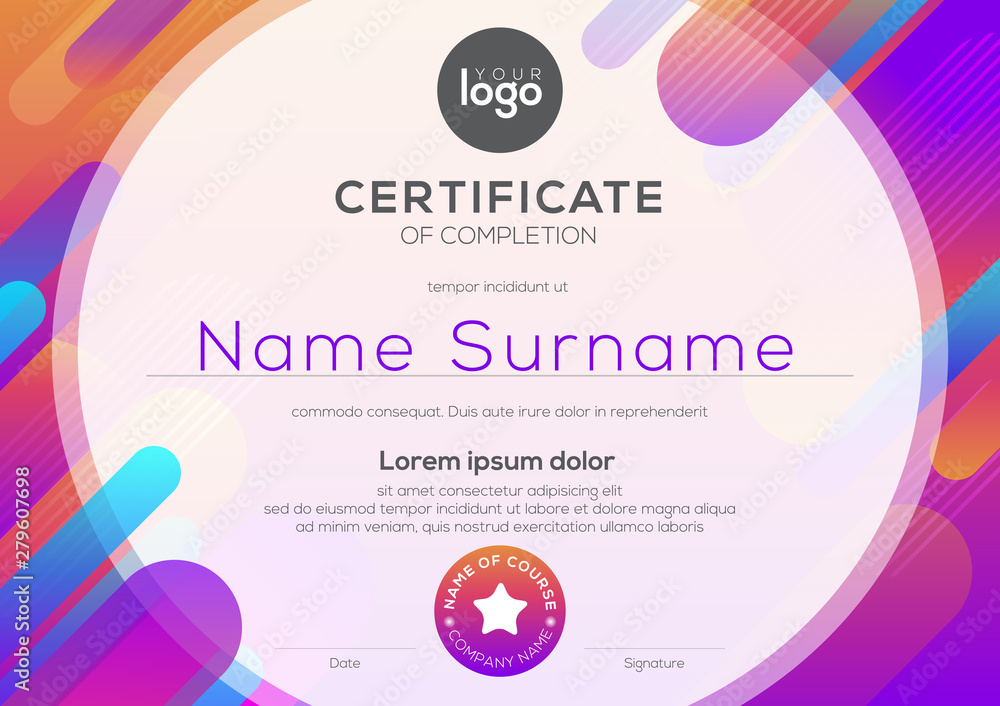 Fototapety, obrazy: modern certificate of completion template with vibrant bold color abstract graphic background