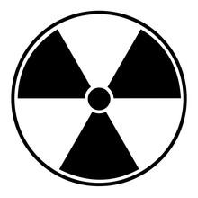 Black Radioactive Sign Over White Background
