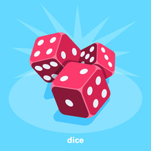 Red Dice On A Blue Background, Isometric Image, Gambling For Everyone