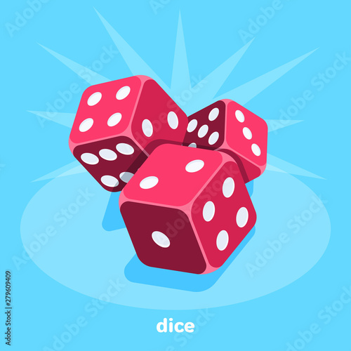 Photographie red dice on a blue background, isometric image, gambling for everyone