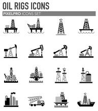 Oil Rig Related Icons Set On Background For Graphic And Web Design. Simple Illustration. Internet Concept Symbol For Website Button Or Mobile App.