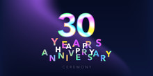 30 Years Anniversary Vector Logo, Icon. Design Element With Number And Text