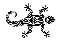 Tribal Art For Tattoo With Gecko Silhouette
