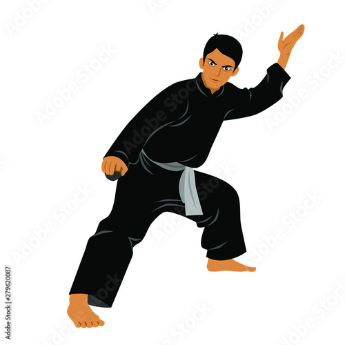 Vector of Silat Martial Arts from Indonesia - Pose 1 Wall mural