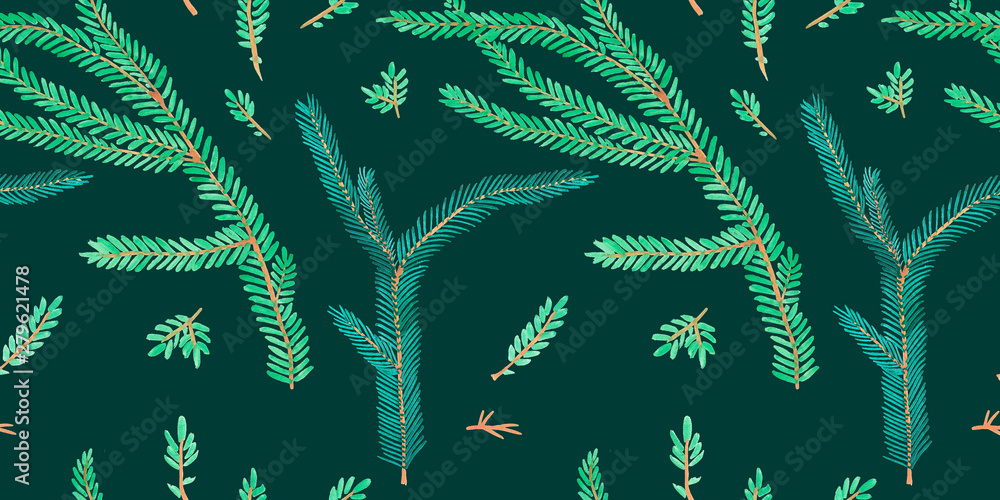 Fototapety, obrazy: Green Christmas seamless pattern for festival background design. Winter sale fair branding. New Year seasonal celebration greeting card. Pine cone xmas branches with leaves isolated fir on green color