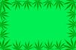 Leinwanddruck Bild -  Frame of hemp leaves. Flat illustration, mock up, copy space.