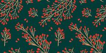 Green Christmas Seamless Pattern For Festival Background Design. Winter Sale Fair Branding. New Year Seasonal Celebration Greeting Card. Pine Cone Xmas Branches With Leaves Isolated Fir On Green Color
