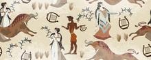 Minoan Civilization Seamless Pattern. Ancient Greece Frescos. Ju