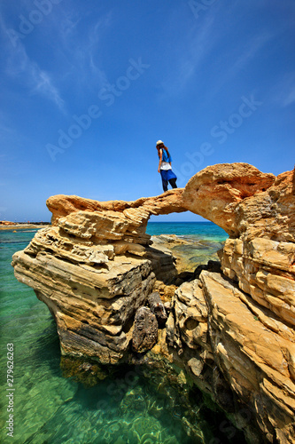 Crete Island Greece Beautiful Rocky Arch At Hersonissos