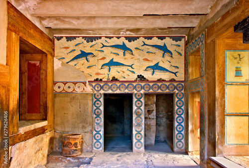 The Dolphins fresco from the Queen's Megaron at the Minoan palace of Knossos, Heraklion, Crete, Greece Wallpaper Mural