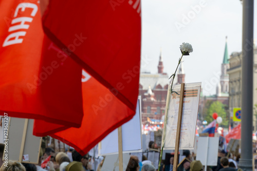 Fotografía  MOSCOW, RUSSIA - MAY 9, 2019: Immortal regiment procession in Victory Day