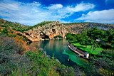 Panoramic view of Vouliagmeni lake, ideal place for relaxation and wellness treatment in Attica, Greece.