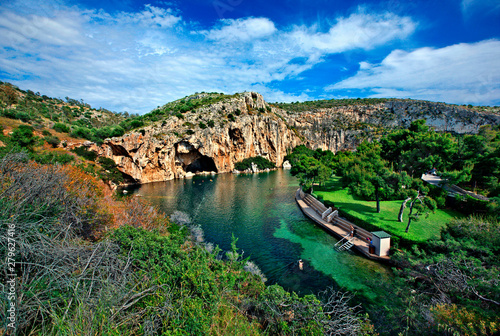 Panoramic view of Vouliagmeni lake, ideal place for relaxation and wellness treatment in Attica, Greece Canvas Print