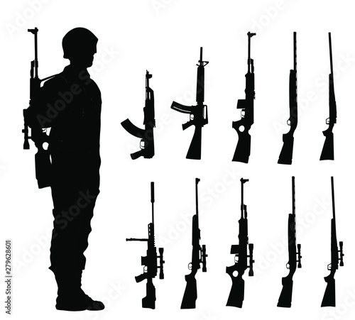 Canvastavla Saluting army soldier with rifle on duty vector silhouette (Memorial day, Veterans day, 4th of July, Independence day ) Rifle collection vector isolated