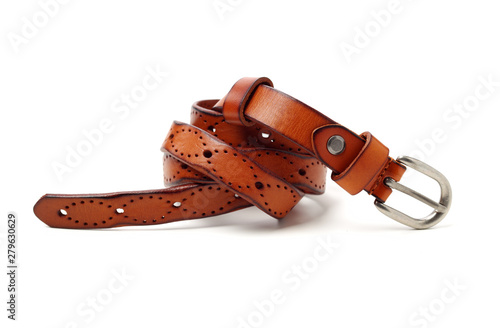 Valokuva Leather Belt on white background