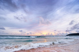 Stormy weather. Beautiful seascape with cloudy sky. Sunset on the beach.