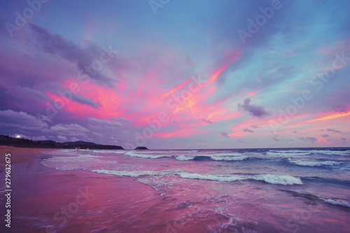 Beautiful landscape. Sunset on the sea shore.