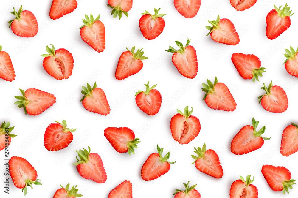 Fototapety, obrazy: Strawberry seamless slices as pattern