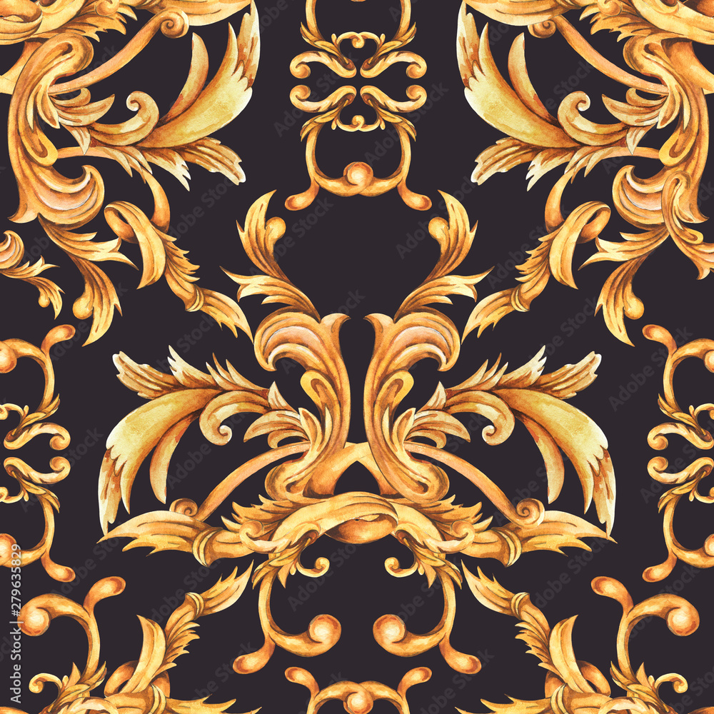 Watercolor golden baroque seamless pattern, rococo ornament texture. Hand drawn gold scrolls, swirl, leaves.