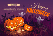Halloween Illustration. Horizontal Banner With Pumpkins On Night Background. Autumn Landscape.