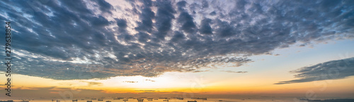 Wide panorama of Cirrocumulus clouds in the morning Canvas Print