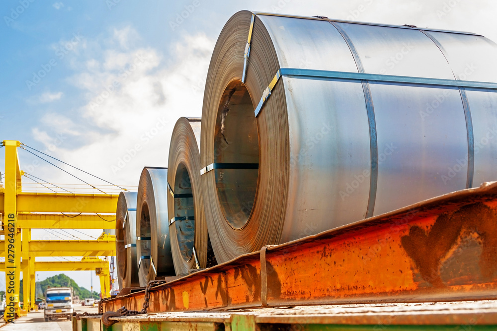 Fototapeta Steel coil transport