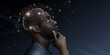 Leinwandbild Motiv Ideas escape from brain of pensive african man