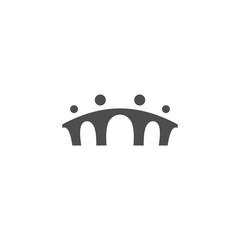 most ljudi obitelj zajedno ljudsko jedinstvo logotip ikona vektora