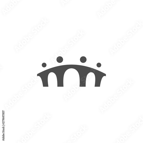 bridge people family together human unity logo vector icon