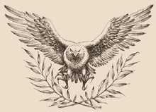 Flying Eagle, Laurel Wreath Emblem. Strenght And Freedom Symbol