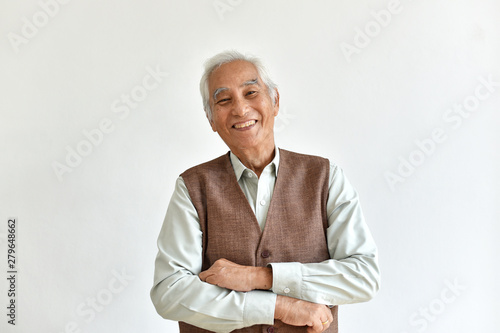 Photo Asian senior old man, Confident and smiling elderly people with folded arms gesture on white background, Happy retiree citizen concept