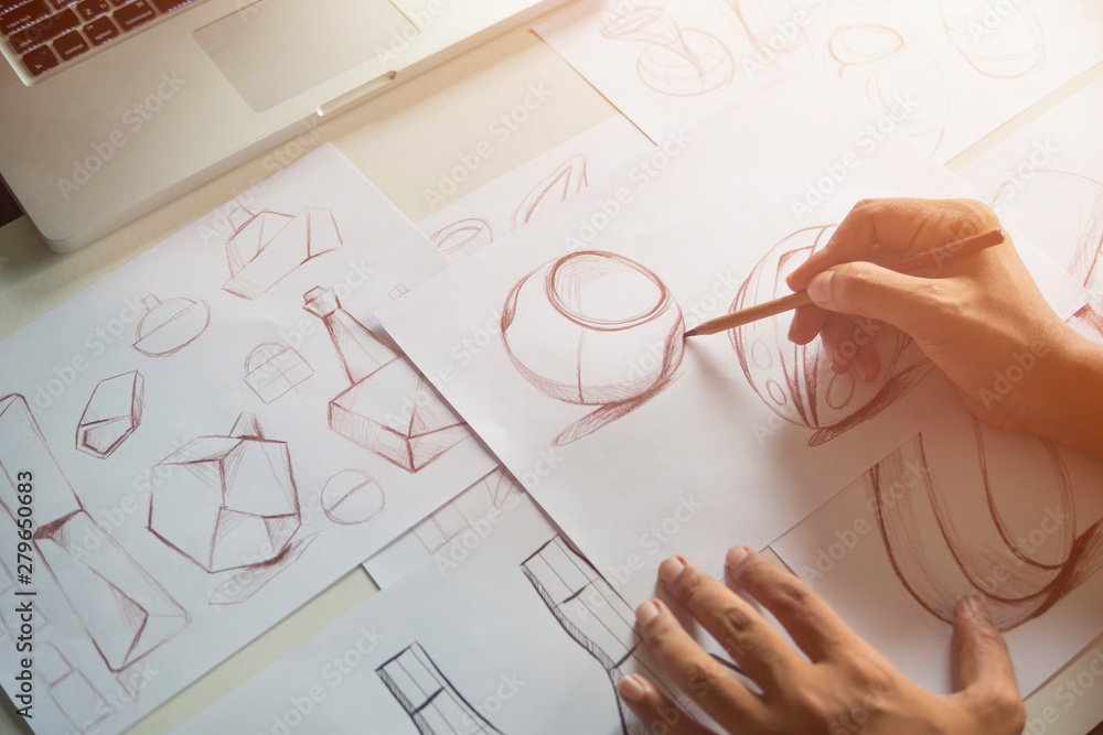Fototapety, obrazy: Production designer sketching Drawing Development Design product packaging prototype idea Creative Concept