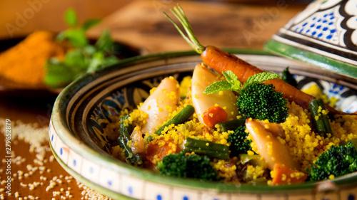 Photo  Tagine Cuscus with Calamari and vegetables