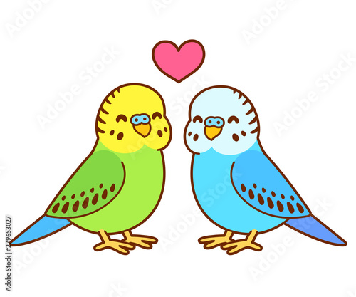 Fotografia Cute cartoon budgie couple