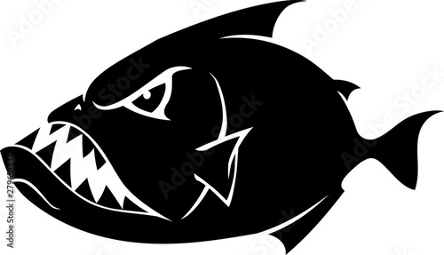 Piranha Cartoon Silhouette Tablou Canvas