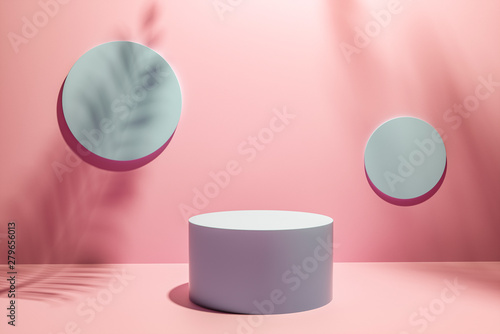 Fotomural  Creative layout made of Cosmetic pastel pink background for product presentation