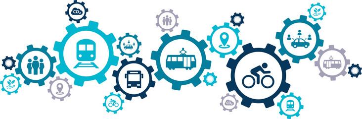new mobility icon concept – ecological public transport alternatives: bus, bike, car sharing, train - vector illustration