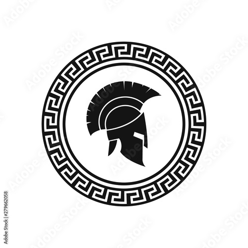Fotografie, Obraz Vector illustration of spartan helmet and shield.