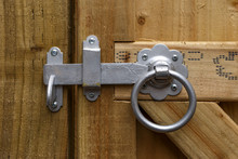 Metal Round Ring Latch Handle Fitted On Wooden Garden Gate