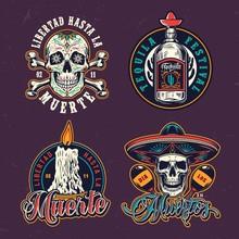 Dia De Los Muertos Colorful Emblems