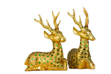 Golden Deer Statue Isolated Wi...